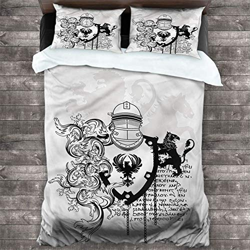 Bedding Duvet Cover Medieval,Medieval Knight 3 Piece Bedding Sets (1 Duvet Cover + 2 Pillow Shams) Duvet Cover Set with Zipper Closure, Cal King 104'x90'