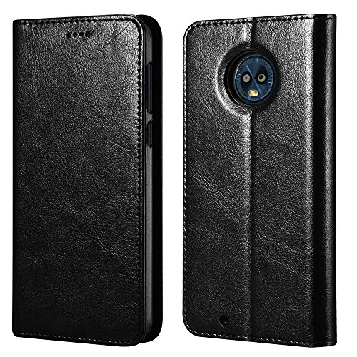icarercase Moto G6 Case, Vegan Leather Moto G6 Wallet Case/Flip Case Protective Shockproof Case Cover with Credit Card Slots for Moto G6 Leather Case(Black)