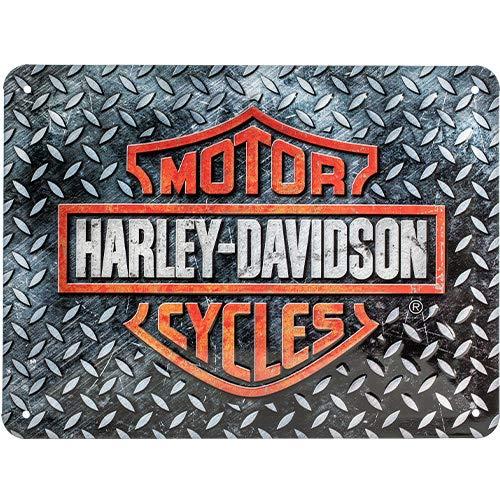 Nostalgic-Art Harley-Davidson – Diamond Plate – Geschenk-Idee für Motorrad-Fans, Retro Blechschild, aus Metall, Vintage-Dekoration, 15 x 20 cm