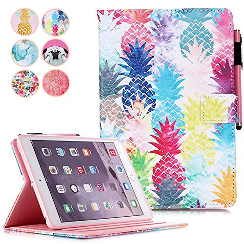 iPad 10.2 2019 Case, iPad 7th Generation 10.2' Cover, MonsDirect PU Leather Shock Proof Case Kickstand, Pencil Holder Smart Sleep Wake iPad 10.2 Inch Case, Air 3 Pro 10.5 Inch Case, Color Pineapple