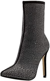 70a6e2307f8 Peize Women Classic Water Drill Solid High Heels Boots Ladies Leisure Side  Party Zipper Shoes