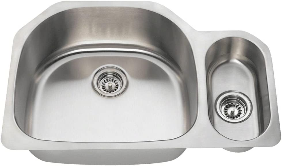 3221L 18-Gauge Portland Mall Undermount Offset Double Bowl Max 70% OFF Stainless Kit Steel