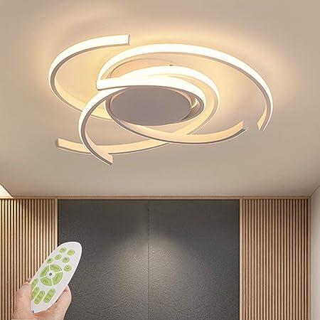 LED Plafonnier Dimmable Salon Lampe Luminaire 72W Moderne avec Télécommande Chic Métal Acrylique Lampe de plafond Lustre pour Chambre Salle à manger Bureau Plafond Suspension Lampe Ø56cm (Blanc)
