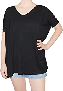 Women's Famous V-Neck Short Sleeve Bamboo Top Loose Fit