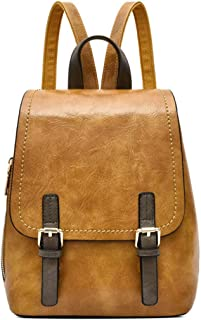 COAFIT Women's Backpack Fashion Flap Travel Backpack School Bookbag for Students (Yellow)