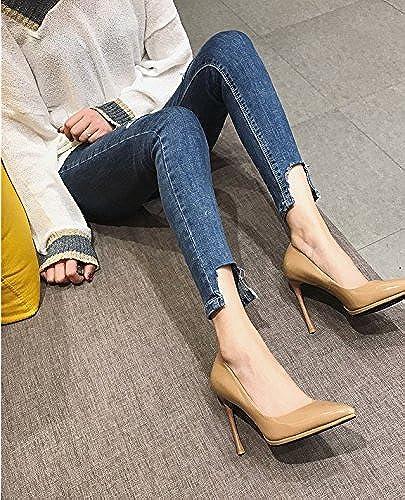 Ajunr Port de la lumière à la mode chaussures femmes tempérament Pointe 10 5cm de haut-talons Wild apricot Sandales,Femmes,Loisirs,été Mode