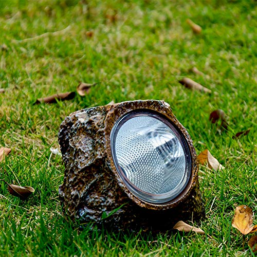 Solar Garden Rock Lights Outdoor,Ronana 2 Pack 10 LED Waterproof Solar Powered Rock Light with Ground Plug, Outdoor Landscaping Spotlights, for Indoor and Outdoor Decoration