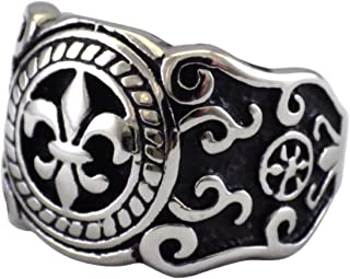 Fantasy Forge Jewelry Mens Fleur de Lis Ring Renaissance Costume Band Stainless Steel Size 9-14