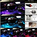 Flying Calf Automotive Fiber Optic Interior Lights Cars Interior Decorations lamp App Controls Light Color 64 Colors Installed in The car gap6m Optical Fiber + 5 Light Sources DC12V