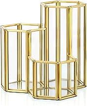 Hipiwe 3 Slots Glass Makeup Brush Holder - Gold Hexagon Cosmetics Brush Eyeliners Display Cup Home Decorative Makeup Organ...