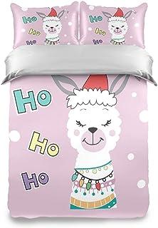SUPERQIAO Hermosa Navidad Llama Alpaca Kids Twin Juego de Funda nórdica Juego de Cama de 3 Piezas Suave y cómoda Colcha Funda de Almohada para Chico Adolescente Chica Niño
