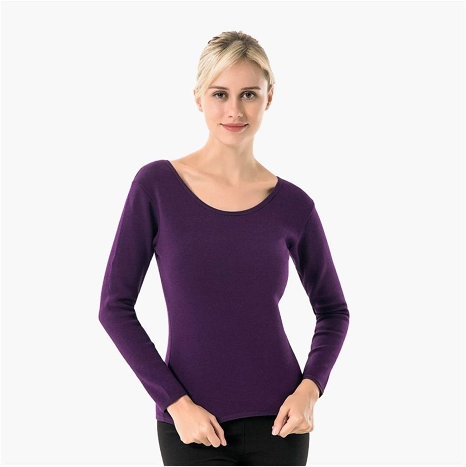 QWERBAM 3XL Winter Women's Thermal Underwear Long Sleeve Thick Warm Basic Pullover Female Plus Size Thermal Clothing (Color : Purple, Size : XXL.)