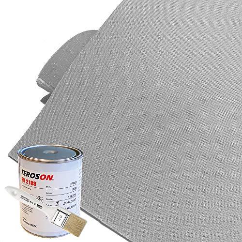 Kit de tela línea Cielo para coche - Color gris claro nido de abeja tipo Golf/Audi + pegamento de alta temperatura + pincel gratis
