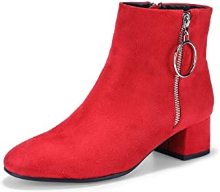 Women's Bonnie-Ring Metal Ring Round Toe Ankle Booties Low Block Heel Faux Suede Short Boots with Zipper