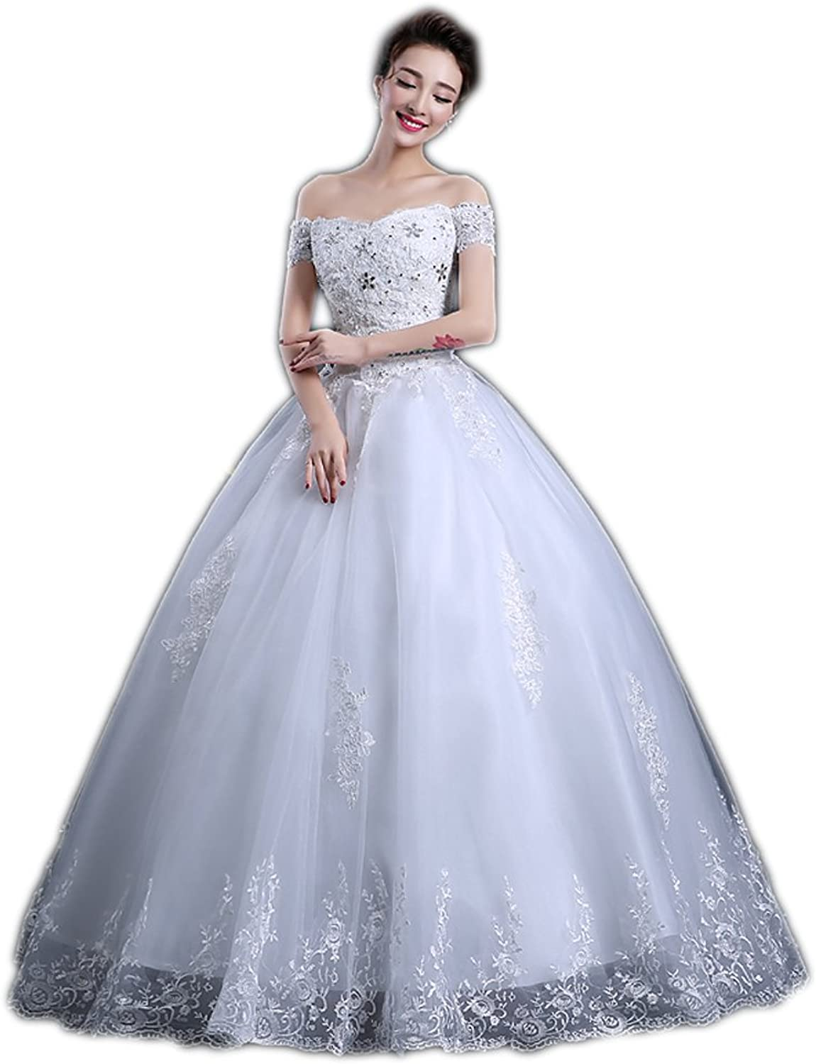 AK Beauty Women's Lace Up Crystal Appliques Ball Gown Wedding Dress