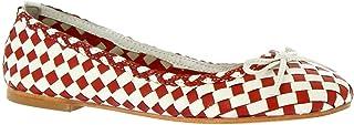 Leonardo Shoes Ballerine da Donna Fatte a Mano Pelle Intrecciata Rossa Bianca - Codice Modello: Gianna Red/White