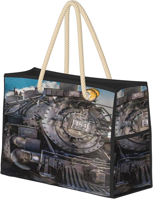 Posia Retro Steam Train Women Beach With Bag Max 80% OFF Cash special price Zipper T Tote Large