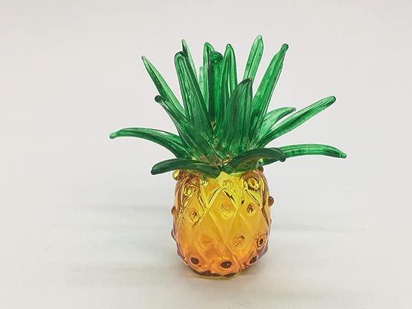 WitnyStore Pineapple Blown Glass Fruit Figurine Painted Hand Blow Art Souvenir Decor Gift