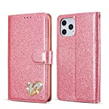 QLTYPRI iPhone 12 Mini Hülle, Glitzer Handyhülle PU Ledertasche TPU Etui Handschlaufe Kartenfach mit Eingelegten Liebe Herz Diamond Flip Schutzhülle für iPhone 12 Mini (5,4 Zoll) - Rosa