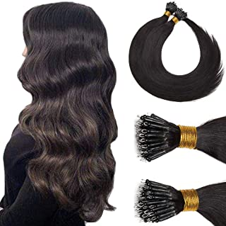 Nano Rings Human Hair Extensions Pre Bonded Tipped Nano Tip Real Hair Cold Fushion Remy Brazilian Hair For Women Silky Balayage Two Tone Color 22inch 50g/PACK 50 Strands #1B Natural Black