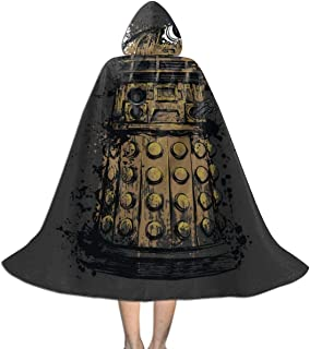 QINWEILU Doctor Who Dalek Exterminate Unisex Kids Hooded Cloak Cape Halloween Party Decoration Role Cosplay Costumes Outwear Black