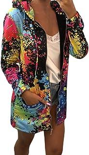 iHENGH Damen Herbst Winter Bequem Mantel Lässig Mode Jacke Frauen Mode Womens Tie Färben Print Coat Outwear Sweatshirt Kapuzenjacke Mantel