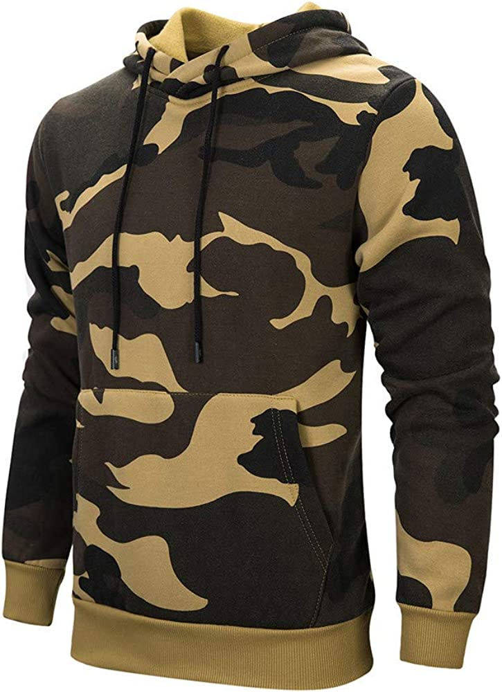 XXBR Camo Hoodies for Mens, 2021 Fall Camouflage Print Hooded Pullover Drawstring Slim Fit Workout Casual Sweatshirts