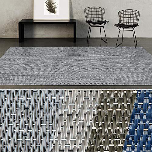 casa pura Outdoor Mats for Garden - Waterproof Rug   Geona   Indoor & Outdoor Rug   Hardwearing Flat weave Carpet   For Patio, Balcony or Terrace   Dark Grey - 60 x 1500 cm