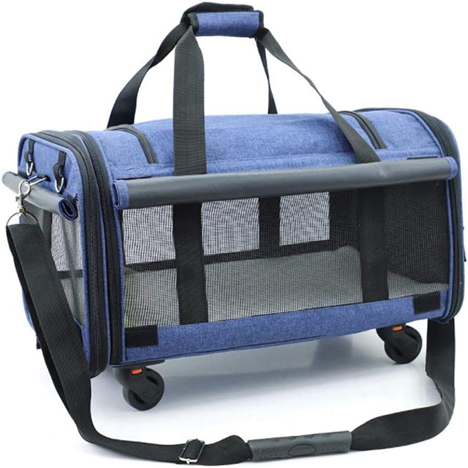 Outing Breathable Pet Travel Bag Portable Pet Cage Portable Pulley Bag (color   bluee)