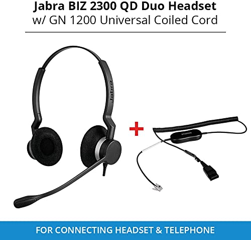 2021 Jabra online sale Biz 2300 QD Duo Headset with GN 1200 Universal Coiled Smart Cord for Connecting high quality Headset & Telephone online