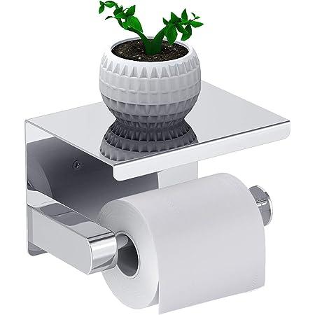 Leolee Porte Papier Toilette, Support Papier Rouleau sans Percage Derouleur Papier WC,Distributeur Papier avec Tablette, Acier Inox SUS 304, Colle Auto-adhésive et Mural Pour Salle de Bain (Argent)