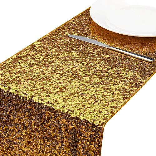 MengH-SHOP Tischläufer Pailletten Gold Tischdecken Tischfahne Dekoration für Party Hochzeit Geburtstag Baby Duschen 30 * 280cm
