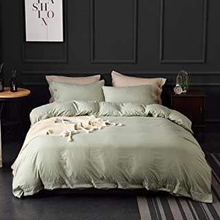 M&Meagle Green Duvet Cover Queen(90x90 Inch) with Buttons,3 Pieces (1 Duvet Cover, 2 Pillowcases) 100% Stone Washed Microfiber Solid Color Bedding Set for Women,Men,Boys and Grils