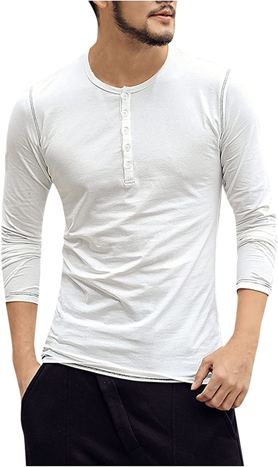 xoxing Long Sleeve for Men Casual Plus Size Loose V-Neck Buttons Solid Tops Blouse Pullover Sweatershirts