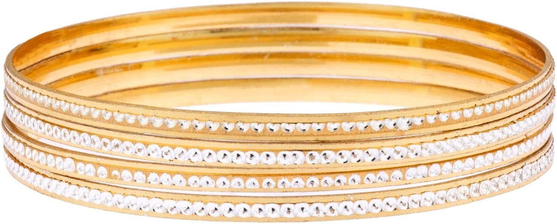Efulgenz Indian Bollywood 14 K Gold Plated CZ Wedding Bridal Bracelet Bangle Set Jewelry