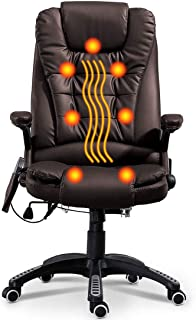 Massage Chair Office Swivel Executive Ergonomic Heated Vibrating Chair for Computer Desk(Brown)