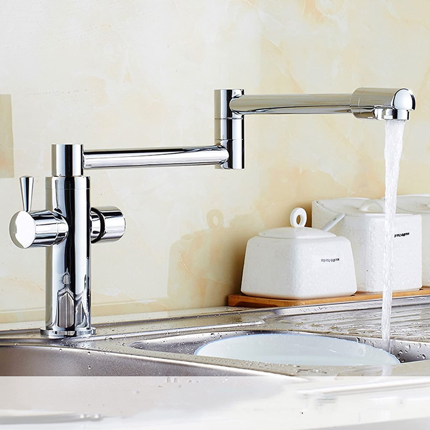 Cqq faucet gold European style Vegetables basin sink faucet redation ? Foldable copper hot and cold scalable faucet ( color   Silver )