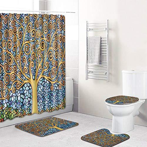 ETH beschilderde bomen patroon douchegordijn vloer matten badkamer wc mat vier sets van tapijt water absorptie vervaagt niet veelzijdig comfortabel badkamer matten kan machine gewassen duurzaam