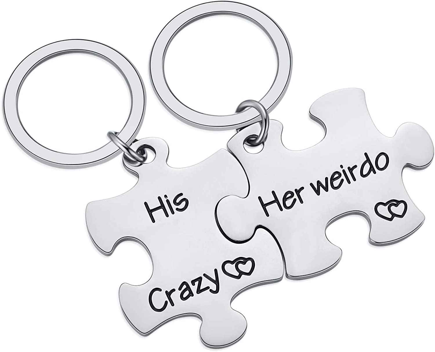 Valentine Day Keychain Set Gift for Boyfriend and Girlfriend, His Crazy Her Weirdo Couple Key Chain for Thanksgiving Day Wedding, Stainless Steel Lover Jewelry Gifts