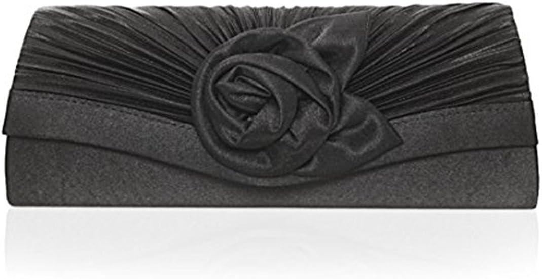 Jian ya na Women's Satin Pleated Flower Front Evening Bag Clutch Handbag (black)