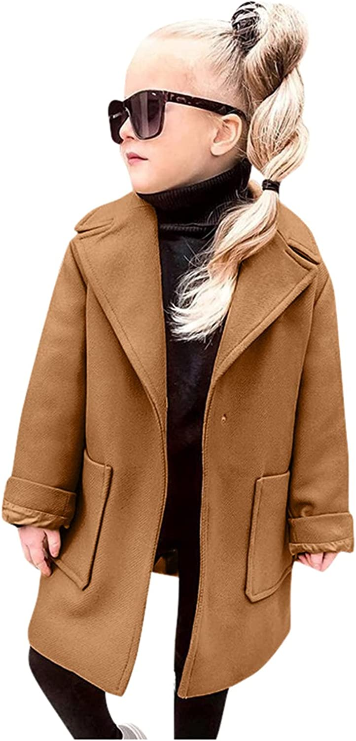 Kids Girls Solid Windproof Coat Turn-Down Collar Covered Button Winter Warm Outerwear with Pockets