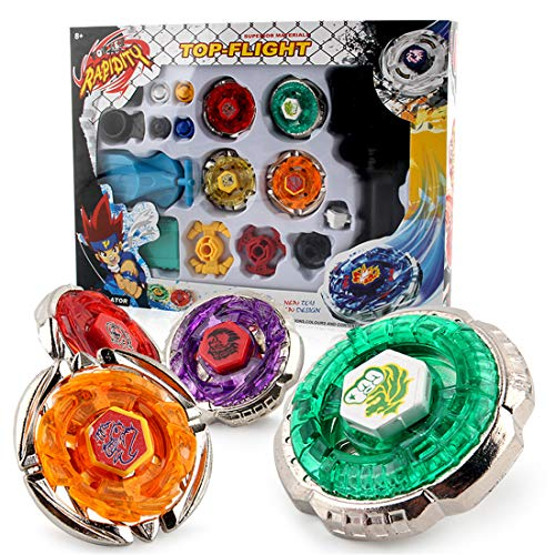 Yueyue Gyro, 4D Fusion Modell Metall Masters Beschleunigungslauncher Speed Kreisel mit Basis-Arena Kinder Spielzeug Kindertag, Ostern, Weihnachten, Geburtstag (4 pcs) (Gelb)