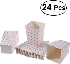 NUOLUX 24pcs Popcorn Boxes Dot Design Snack Paper Bags for Movie Theater Dessert Tables Wedding Favors (White+Pink dots)