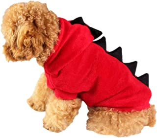 Halloween Pet Dog Dinosaur Costume Hoodie Jumpsuit Apparel Flannel Warm Jacket Red XL