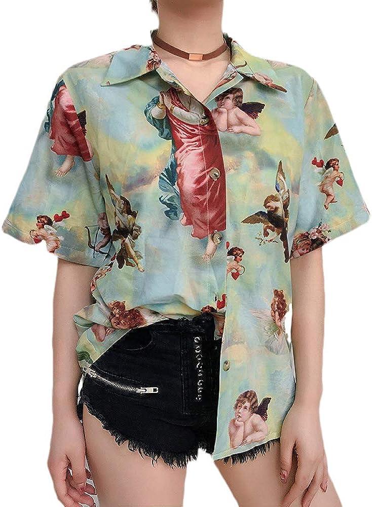 Rancheng Vintage Angel Print Women Lapel Shirt Short Sleeve Causal Girl Blouses T-Shirts Tops