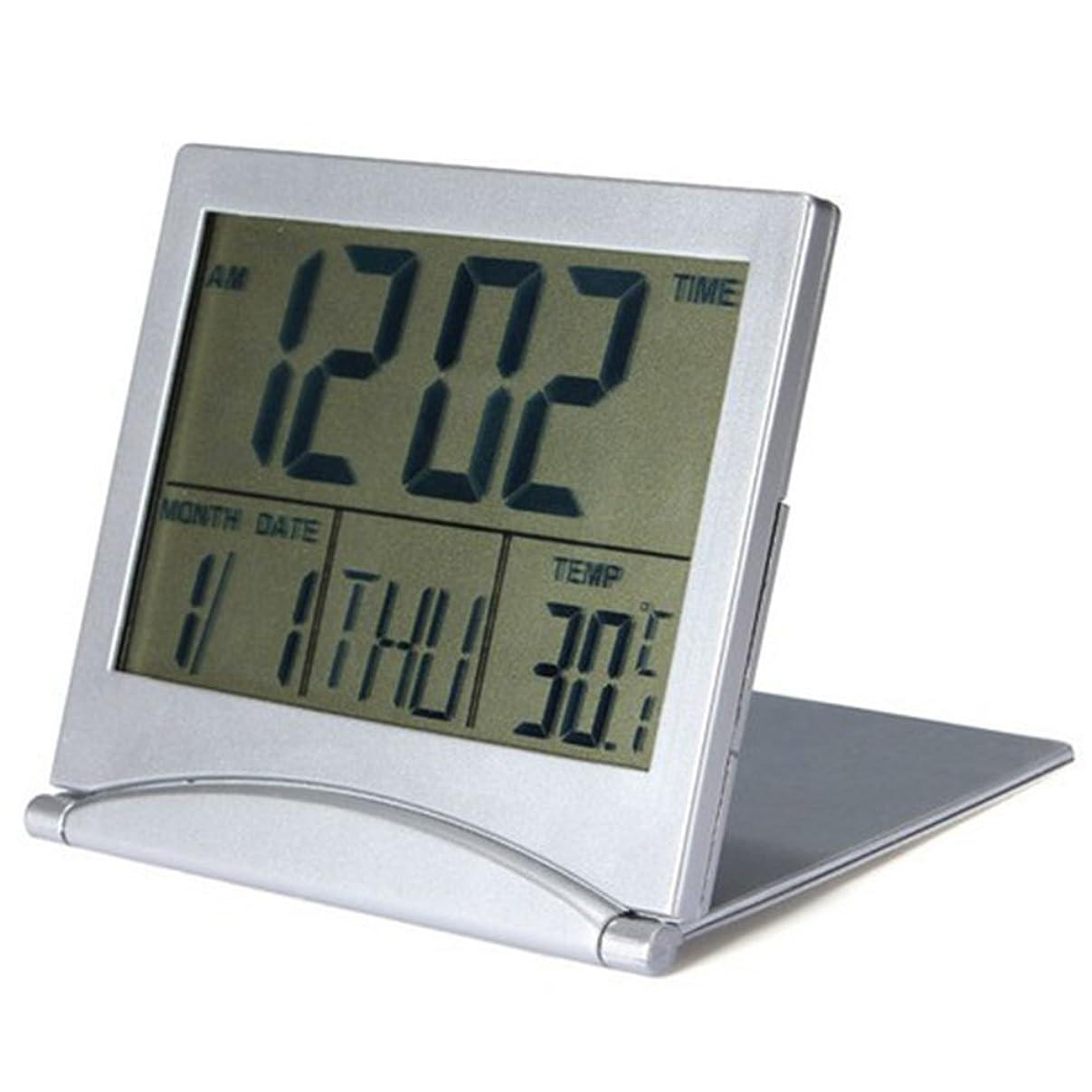 クマノミ主流宿命Zafina 目覚まし時計 置き時計 折り畳み式 LCD 折りたたみ式 置き時計 小型 時計?アラーム?カレンダー?温度表示 旅行グッズ