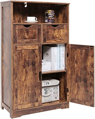 """IWELL Large Storage Cabinet with 2 Adjustable Drawers & 2 Shelf, 42.5""""H x 23.6""""L x 11.8""""W, Floor Storage Cabinet with Dou"""