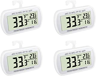 Waterproof Refrigerator Fridge Thermometer, Digital Freezer Room Thermometer, Max/Min Record Function Large LCD Screen and Magnetic back for Kitchen, Home, Restaurants (4 pack)