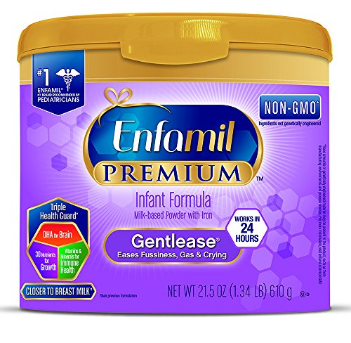 Enfamil PREMIUM Non-GMO Gentlease Infant Formula - Clinically Proven to reduce fussiness, gas, crying in 24 hours - Reusable Powder Tub, 21.5 oz (Pack of 4)