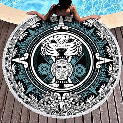 Ktewqmp Toalla de playa redonda Jaguar Warrior, toalla de playa para hombre, toalla de playa, viaje, color blanco, 150 cm